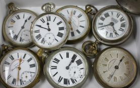 Seven assorted base metal pocket watches, including Superior Railway Timekeeper and Railway