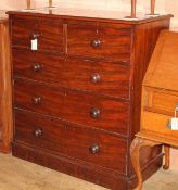 A Victorian mahogany five drawer chest W.106cm