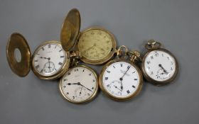 A gold plated hunter and four other pocket watches.