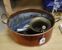 A Victorian copper oval pan, a pestle and mortar, plated Arts & Craft servers, etc.