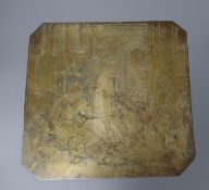 A 19th century brass engraved panel