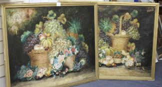 English School c.1900, pair of oils on canvas, Still lifes of fruit and flowers, 70 x 90cm