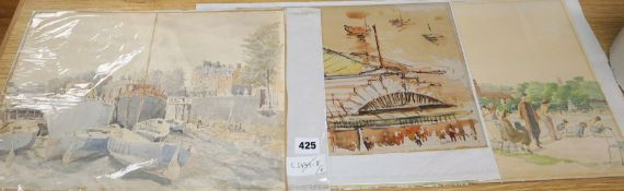 Sydney Maiden, two watercolours, Shipyard & Park scene, 29 x 39cm, and a watercolour of Collyer