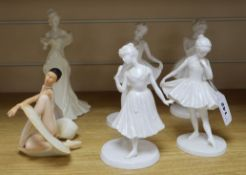 An Art of Movement figure of a ballerina and five Coalport figures, all limited editions of 9,500,
