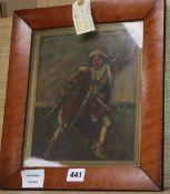 19th century English School, oil on canvas, Mazeppa (?) 24 x 20cm