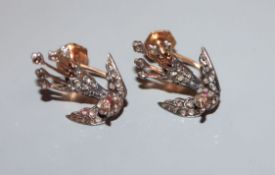 A pair of Victorian yellow metal and rose cut diamond set 'swallow' ear clips (adapted), 19mm.
