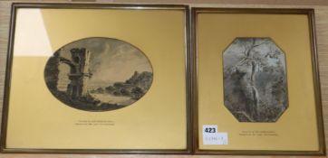 Sir Charles Bell, two monochrome watercolours, Wooded landscapes, 18 x 13cm and 16 x 23cm
