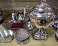 A 19th century plated hot water urn and a quantity of plated items