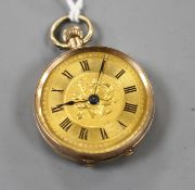 A continental 9ct. fob watch with Roman dial.