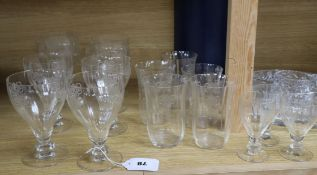 A sixteen piece part suite of etched glassware and a glass hors d'oeuvres dish