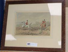 Phiz, watercolour, Hunting scene, signed, 18 x 27cm