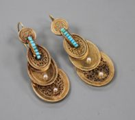 A pair of late Victorian yellow metal, turquoise and seed pearl set graduated oval disc drop