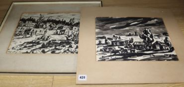 Stephen Ampenberger (1908-1983), pair ink and wash, Studies of villages, signed, 26 x 35cm