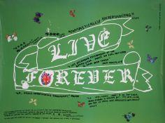 A Damian Hurst 'Live Forever' poster