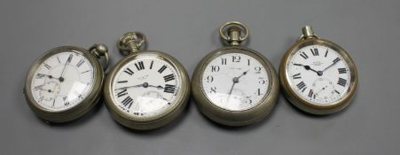 Four assorted base metal pocket watches, Elgin, Kay's, New Era and unsigned