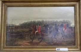 S. Martin, oil on canvas, Hunting scene, signed and dated 1880, 29 x 50cm
