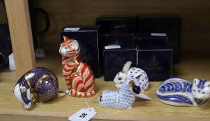Twelve Royal Crown Derby paperweights, seven boxed, including Teddy Bear, Swan, Siamese Kitten,