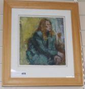 Lesley Robertshaw, oil on board, Seated model, 28 x 26cm.