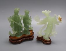 A 20th century Chinese carved bowenite jade figure of a courtesan and a similar group of a noble
