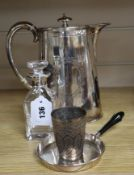 A silver mounted scent bottle, a plated hot water jug and two other items