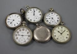 Six various base metal pocket watches including The Isthiam Lever.
