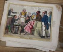 A quantity of 19th century and later satirical, fashion and bookplates, some hand coloured,