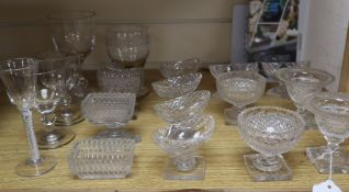 A collection of cut glass, salts and various glasses