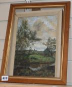 Maurice R Sheppard (b. 1947), landscape study, oil on board, 'Towards Prendegast', signed and