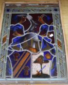 A 19th century stained glass panel in a bamboo frame 49 x 36cm