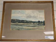 Claude Muncaster (1903-1974) watercolour, The Downs near South Harting, 23 x 36cm.