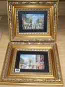 Sebastion, pair of oils on board, Paris street scenes, 12 x 17cm