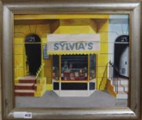 A. Raujo Silva, oil on canvas, 'Sylvia's', signed 36 x 44cm.