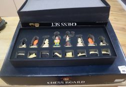 A Wallace and Gromit Collector's Edition chess set and chess board, boxed