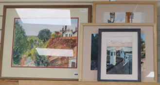 Hugh Bredin, 4 watercolours; Rotten Row, Lewes; Turrets, Essaouira; Serbian Bridge & Bechules, plant