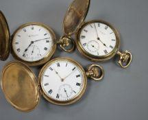 Three gold plated keyless hunter pocket watches.