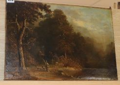 Attributed to James Stark (1794-1859) oil on canvas, Sportsman in a landscape, 33 x 48cm, unframed.