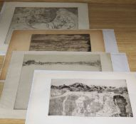 John Copley (1875-1950) four etchings; Bay of Palma, Vale of Severn, Girls by a stream & El