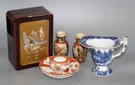 A Chinese blue and white jug, Japanese lacquer box and mixed Japanese ceramics