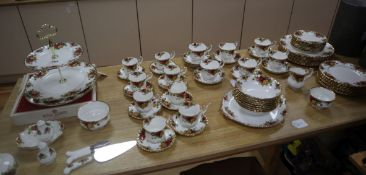 A collection of Royal Albert Old Country Roses tableware (73 pieces), comprising: 6 tea cups and 8