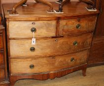 A Regency mahogany bow-fronted chest of drawers (reduced in height) W.100cm
