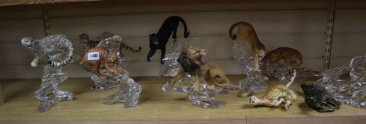 A group of nine Australian Co. FM wild cats on cut glass stands
