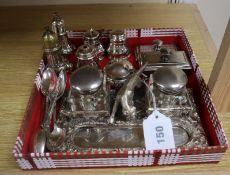 A plated inkstand, blotter, matching paperweight and two plated three piece condiment sets