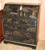 A reproduction chinoiserie painted four drawer bureau W.82cm