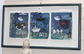 Sara Wicks, mixed media triptych, Coast with killer whale, each panel 25 x 20cm