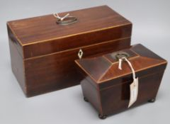 A 19th century mahogany tea caddy with two-division interior and glass bowl and a small
