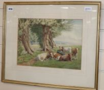 William Sidney Cooper (1854-1927), watercolour, cattle and trees in a landscape, signed and dated