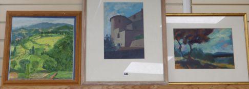 Elizabeth Browning, oil on board, Casole d'Elsa, 36 x 36cm and two landscape works by Robin Holtom