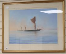 Christien, pastel, Sail barges off the coast, 49 x 68cm, a Victorian watercolour, another