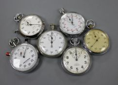 Six assorted stop watches, including Nero Lemania and Smiths.