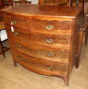 A Regency mahogany bow front chest W.102cm